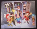 Magazine Ad for Kellogg's Cereals, Snap Crackle & Pop with School Lockers