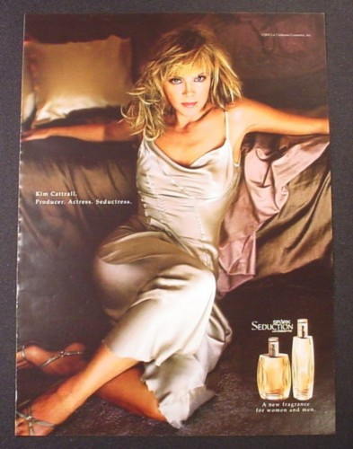 Magazine Ad for Spark Seduction Perfume, Kim Cattrall Celebrity Endorsement