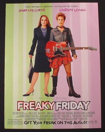 Magazine Ad for Freaky Friday Movie, Lindsay Lohan, Jamie Lee Curtis, 2002