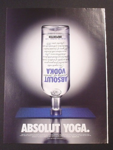 Magazine Ad for Absolut Yoga, Vodka, Upside Down Bottle, 2004
