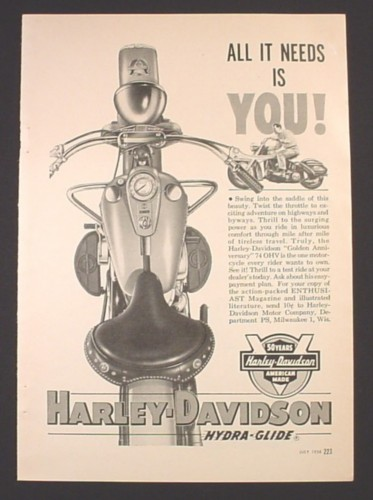 Magazine Ad for Harley-Davidson Hydra-Glide Motorcycle, 50 Years, 1954