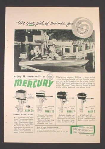 Magazine Ad for Mercury Outboard Motors, Mark 5 7 30 50, 1954