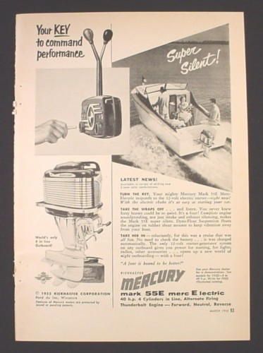 Magazine Ad for Mercury Outboard Motor, Mark 55E Electric Start, 1955