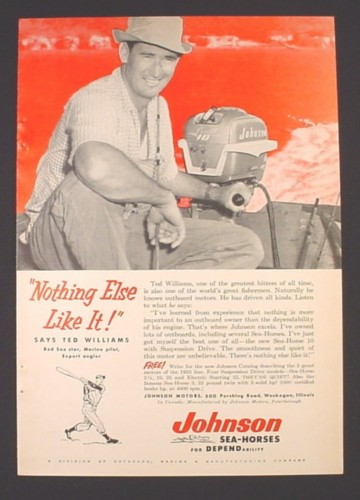 Magazine Ad for Johnson Outboard Motors, Ted Williams Celebrity Endorsement, 1955