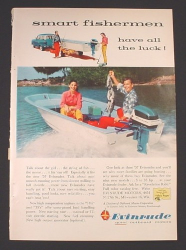 Magazine Ad for Evinrude Outboard Motors, Smart Fishermen Have All The Luck, 1957