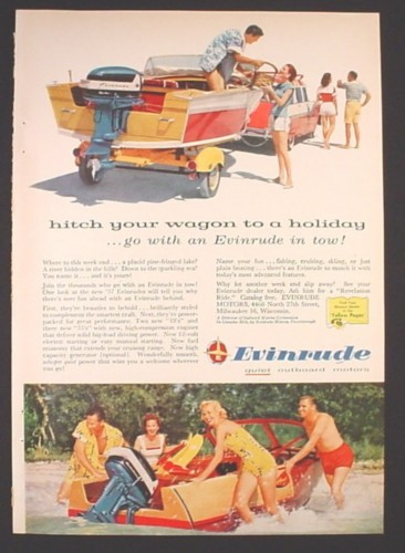 Magazine Ad for Evinrude Outboard Motor, Hitch Your Wagon To A Holiday