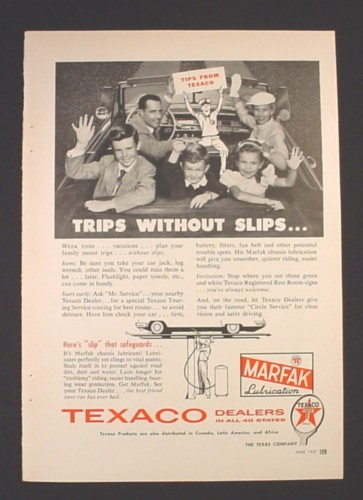 Magazine Ad for Texaco Marfak Lubrication, Oil, Trips Without Slips, 1957