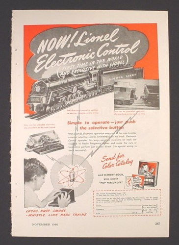 Magazine Ad for Lionel Electronic Control, Train Railroad Toy, 1946