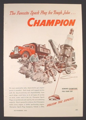 Magazine Ad for Champion Spark Plugs, Follow The Experts, 1946