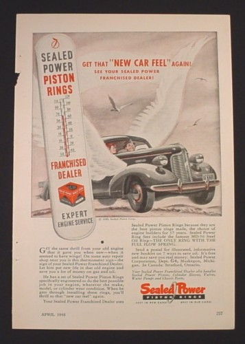 Magazine Ad for Sealed Power Piston Rings, Car Parts, Sign with Thermometer, 1948