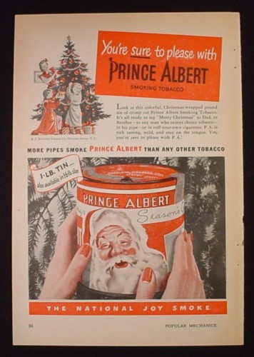 Magazine Ad for Prince Albert Pipe Tobacco In Tin Can With Santa Claus, 1947