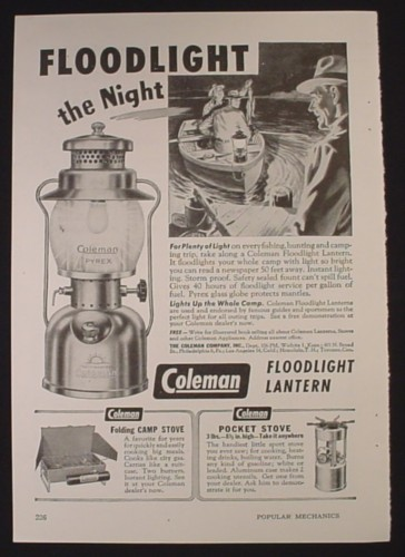 Magazine Ad for Coleman Floodlight Lantern, Camp & Pocket Stove 1947