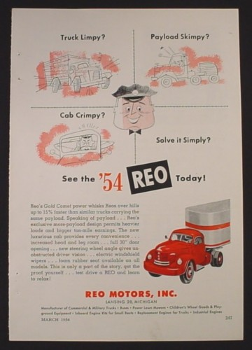 Magazine Ad for REO Motors Gold Comet Commercial Truck, Limpy, 1954