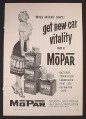 Magazine Ad for Mopar Batteries, Miss Mopar Pin-Up, 1955