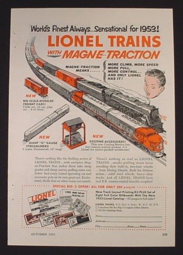 Magazine Ad for Lionel Trains with Magne-Traction, O Gauge Streamliners, 1953