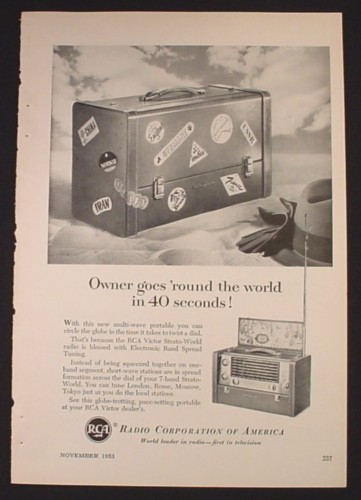 Magazine Ad for RCA Victor Strato-World Radio, Round The World in 40 Seconds, 1953