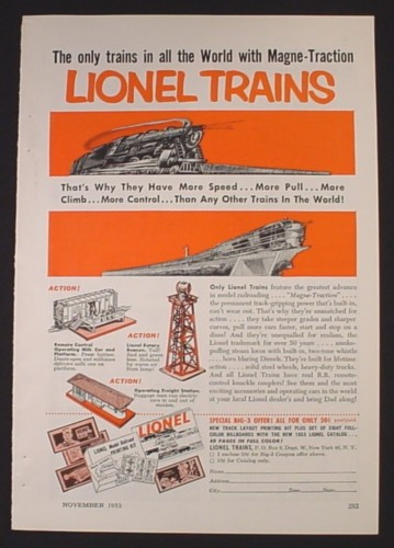 Magazine Ad for Lionel Trains, Remote Control Operating Milk Car, 1953
