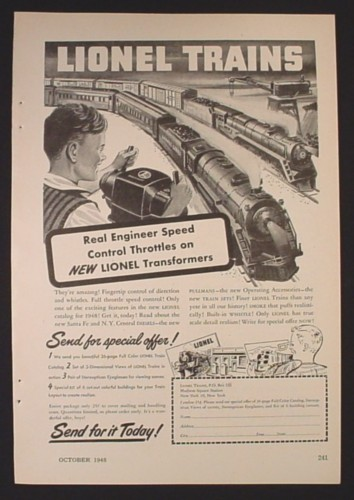 Magazine Ad for Lionel Trains Toys, Real Engineer Speed Control Throttles, 1948