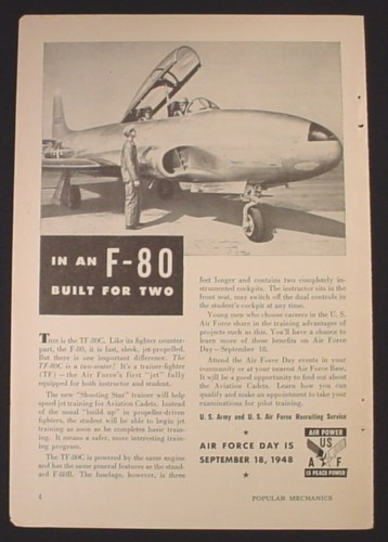 Magazine Ad for Air Force Recruitment, F-80 Built For Two, 1948