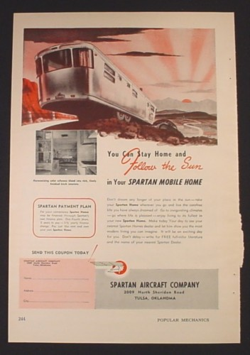 Magazine Ad for Spartan Mobile Home, Follow The Sun, 1953