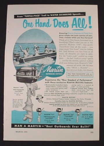Magazine Ad for Martin 100 Outboard Motor, One Hand Does It All, 1953
