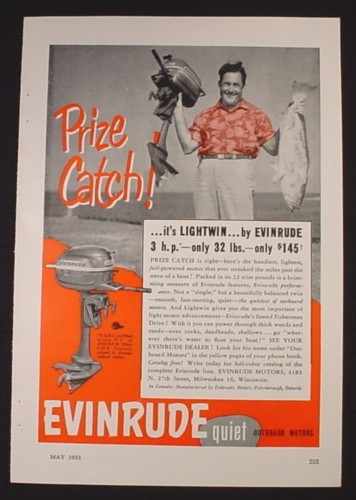 Magazine Ad for Evinrude Lightwin Outboard Motor, Prize Catch, 1953