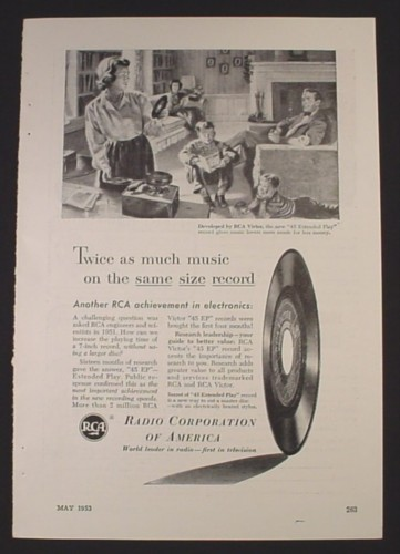 Magazine Ad for RCA 45 EP Extended Play Record, Twice As Much Music, 1953