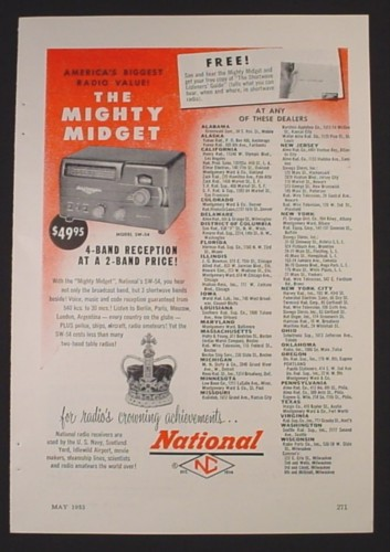 Magazine Ad for The Mighty Midget Radio, National SW-54, 1953