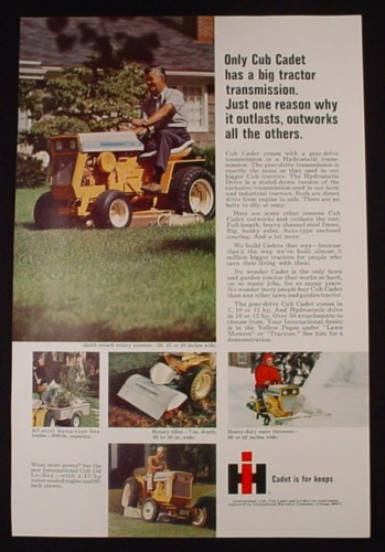 Magazine Ad for International Harvester Cub Cadet Tractor, Cadet is For Keeps, 1969