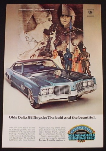 Magazine Ad for Olds Delta 88 Royale Car, Youngmobile Thinking, 1969