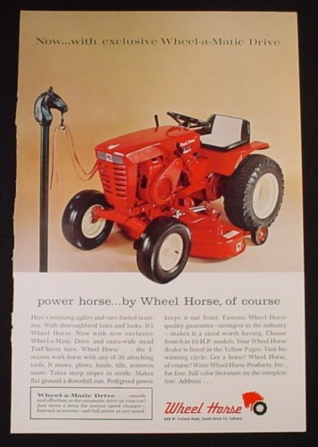 Magazine Ad for Wheel Horse Tractor, Tied to Hitching Post, 1965