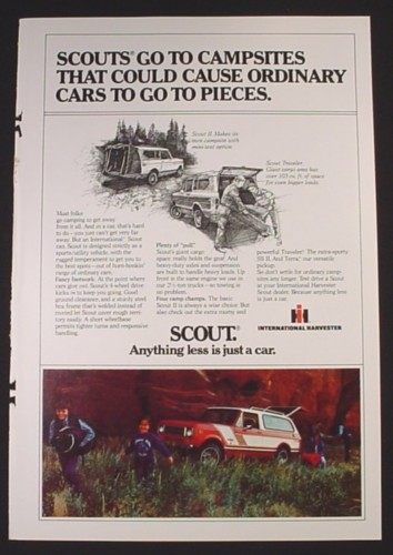 Magazine Ad for International Harvester Scout Truck, Scouts Go To Campsites, 1979