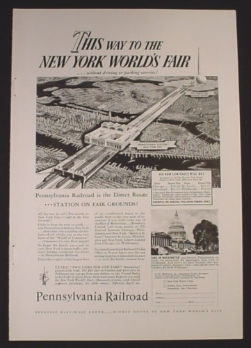 Magazine Ad for Pennsylvania Railroad Direct to New York World's Fair, 1939