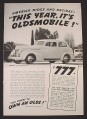 Magazine Ad for Olds 60 2-Door Sedan, $838, America Rides, 1939