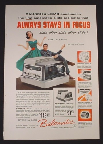 Magazine Ad for Bausch & Lomb Balomatic Slide Projector, 1957
