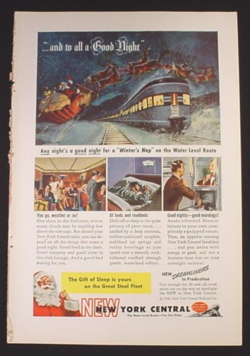 Magazine Ad for New York Central Railroad Train, Santa Claus, 1946
