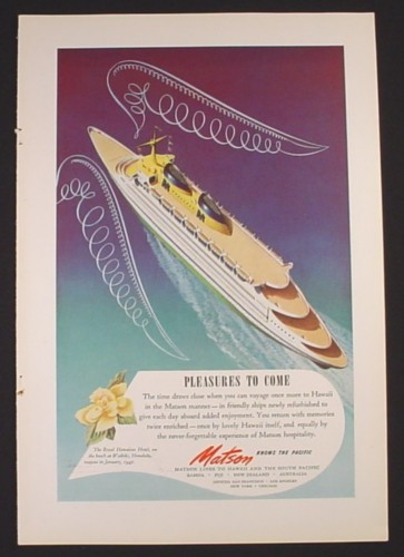 Magazine Ad for Matson Cruise Line, Hawaii, View From Above Ship, 1946