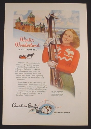 Magazine Ad for Canadian Pacific Railroad, Winter Wonderland in Quebec, 1946