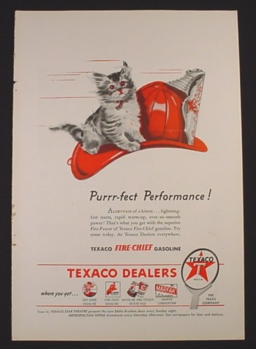 Magazine Ad for Texaco Fire-Chief Gasoline, Kitten on Fire Hat, 1946