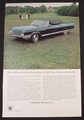 Magazine Ad for Buick Electra 225 Car, Parked in Field, 1966