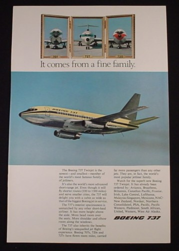 Magazine Ad for Boeing 737 Jet Airplane, Registration N73700, 1967