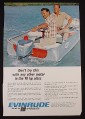 Magazine Ad for Evinrude 9 1/2 HP Sportwin Outboard Motor, Coffee On Engine, 1967