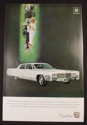 Magazine Ad for 1969 Fleetwood Brougham Cadillac, Bride & Groom, 1968