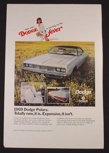 Magazine Ad for 1969 Dodge Polara Car, Dodge Fever, 1968