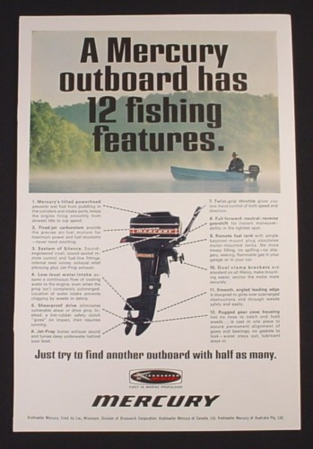 Magazine Ad for Mercury Outboard Motor, 12 Fishing Features, 1968