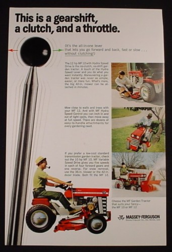 Magazine Ad for Massey-Ferguson MF 10 Garden Tractor, Gearshift  Clutch, 1968