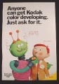 Magazine Ad for Kodak Color Developing, Alien with Film, 1971
