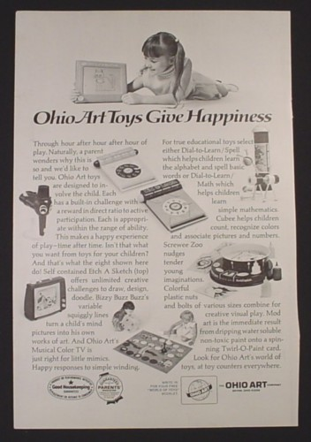 Magazine Ad for Ohio Art Toys, Etch A Sketch, Twirl-O-Paint, 1972