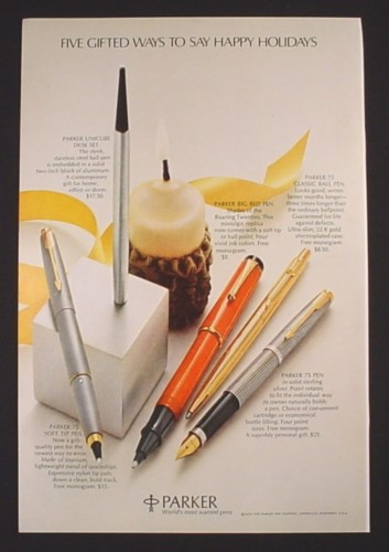 Magazine Ad for Parker Pens, Big Red, Unicube, Soft tip, Fountain, 1972