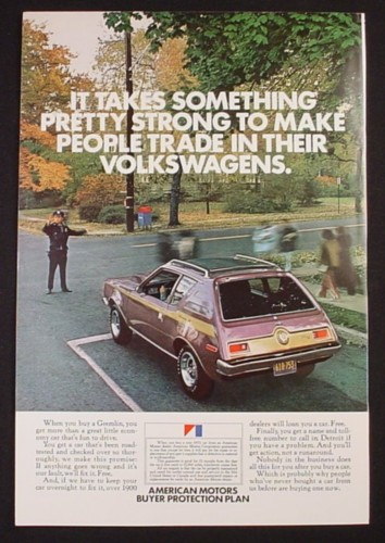 Magazine Ad for American Motors Gremlin Car, Traffic Cop, 1972